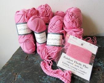 12 Skeins Elite Newport Pink Cotton Knitting Yarn Vintage Yarns
