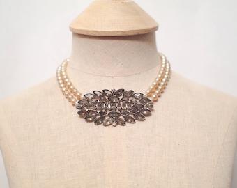 Vintage Smoke Rhinestone Pearl Statement Necklace