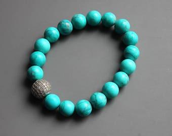 Turquoise Stretch Bracelet - Stretch Bracelet - Gemstone Bracelet - Statement Bracelet - Real Stone Bracelet - Beaded Bracelet