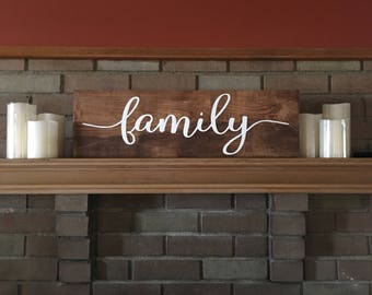 """Family, Family Sign, Stained Wood Sign, Wedding Sign, Rustic Decor Family Sign, Family Inspirational Sign Home Decor, DAWNSPAINTING,24""""x7.5"""""""