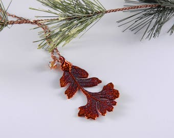 Copper Oak Leaf Necklace with 18 inch Chain, Gift for Green Thumb