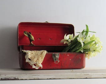 vintage tackle box- tool box - Red - storage box, industrial metal chest, nautical fishing decor, industrial decor