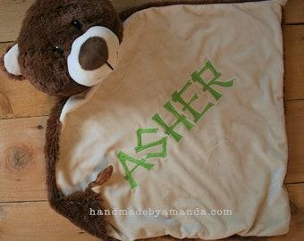 LARGE Brown BEAR Minky Blanket - Monogrammed Bear Blankie 17x17 - Bear Security Blanket - Bear Cubbie Blanket