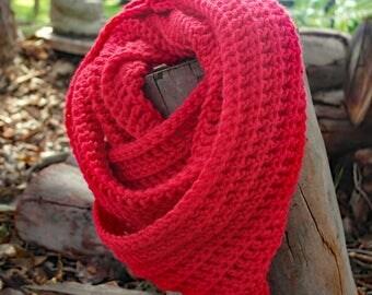 Red Winter Scarf -  Red Crochet Scarves - Red Wool Scarf - Infinity Loop