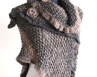Outlander Inspired Fichu Shawl Taupe Dark Gray Color Wool Acrylic Rustic Knitted Wrap Stole Poncho Cape with Knitted Flower Brooch