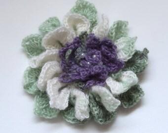 FREE US SHIPPING - Off White Light Green Lavender Color Acrylic Wool Yarn Fashion Crochet Flower Brooch Hat Hair Scarf Shawl Pin