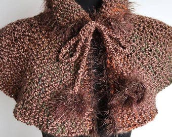 Outlander Inspired Knitted Taupe Light Brown Color Capelet Cape Collar Cowl Gaiter with Faux Fir Trim and Pom Poms Cord Ties