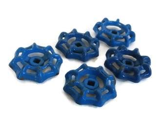 Blue Faucet Handle Hardware. Five Valve Turn Knobs.  5 Industrial Water Faucet Handles.  Blue Spigot Salvage Hardware