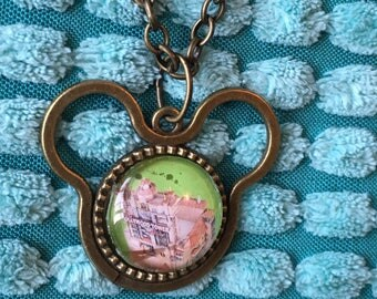 Tower of Terror Hollywood Studios Disney World map - Mickey Mouse shaped charm - necklace