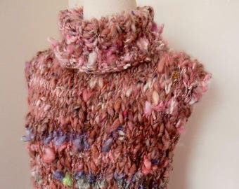 tabard, tunic , sleeveless knitted tunic top, small size, handspun handknitted top