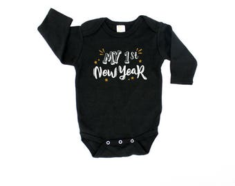 Baby Boy New Year Outfit. My 1st New Years Eve Clothes. 2018 First New Year. Black and Gold. Baby New Year. Newborn.