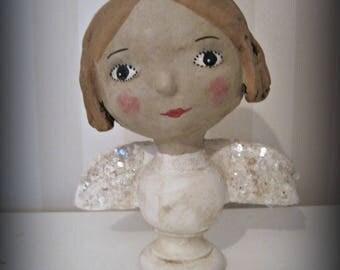GUARDIAN angel-papier mache- vintage style- art doll- folk art