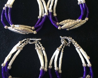 Native American Faux Wampum and silver fill beaded bracelet.