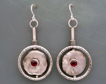 Reticulated Silver Earrings, Dangle Earrings, handmade earrings, hoop earrings, garnet earrings, Gemstone earrings, garnet jewelry