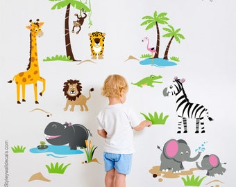 Safari Animals Wall Decal, Safari Wall Decal Sticker, Jungle Animals Wall Decal, Jungle Wall Decal Sticker, Giraffe Monkey Lion Elephants