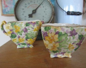 Antique James Kent LTD Chintzware Sugar and Creamer Yellow and Lavender Violets Made in England