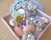 Vintage Cluster and Flower Earring Destash Craft Lot, Pearl, Rhinestone, Pastel Spring Earring Destash Cluster Craft Lot E39