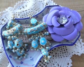 Vintage Jewelry Lot - Shabby Chic  - Lot - Purple Metal Flower - Turquoise Dangle Earrings - Pink Bracelet DD4