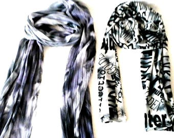 Women's Scarves,  Unique Designer Scarf, Black White Scarf, Handmade Christmas Gift, Long Wrinkle Free Scarf,  Versatile Wardrobe Accessory,