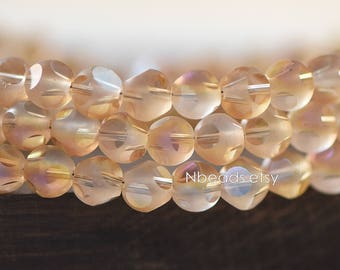 Frosted Faceted Round Crystal Glass beads 6mm, Matte Orange Rose (GM023-12)/ 100 beads