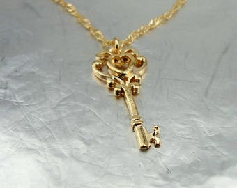 Gold key necklace, Little gold key, key necklace, Gold Kay Pendant, 14k Gold Filled, Delicate Pendant, Bridesmaid Gift, For Her, Bridal Gift