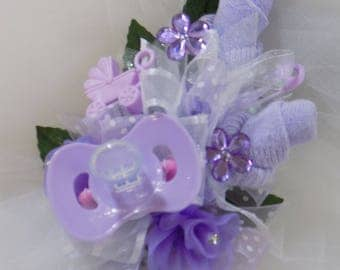 Pin On Baby Shower Corsage - Baby Girl Corsage - Pacifier and Baby Socks - Baby Shower