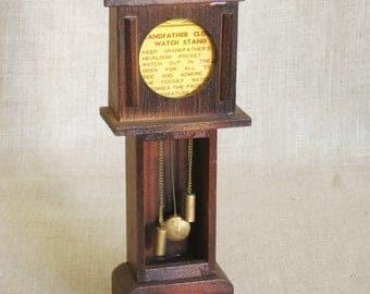 Vintage Pocket Watch Display, Grandfather Clock, Dollhouse Clock, Miniatures, Doll House, Furniture, Original Tag, Display Case, Wood