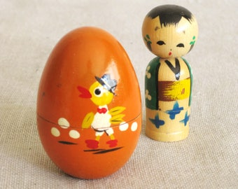 Vintage Wooden Japan Toys, Egg, Kokeshi Doll, Stacking, Surprise Inside, Hand Painted, Mid-Century, Souvenir, Duckling, Easter Decor,Geisha