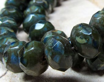 Czech Glass Beads 9 x 6mm Designer Molten Blue/Green Faceted Rondelles - 8 Pieces
