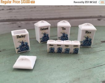 LD SALE Miniature Delft Style Canister Set,Dollhouse Miniatures, 1:12 Scale, Set Includes 4 Canisters With Removable Lids and Spices, Kitche