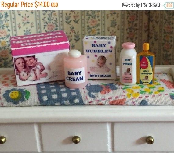 ON SALE Miniature Baby Products Set, Dollhouse Miniatures, 1:12 Scale, Dollhouse Nursery Accessories, Diaper Box, Shampoo, Powder, Bath Bubb