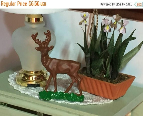 ON SALE Miniature Deer Statue, Mini Metal Deer Figurine, Dollhouse Miniature, 1:12 Scale, Dollhouse Decor Accessory, Brown Deer Miniature Fi