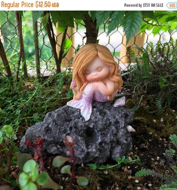 SALE Beautiful Little Mermaid In Thought Figurine, Mermaid on Rock, Style 4314, Fairy Garden Accessory, Mini Garden Decor, Shelf Sitter, Top