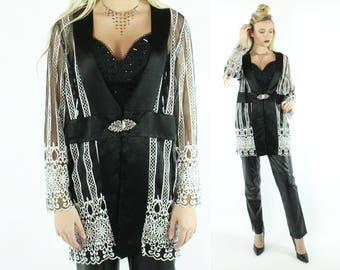 80s Lace Jacket Black White Sheer Blazer Cocktail Party Evening Wear Vintage 1980s Large L Hosanna