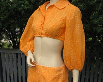 Vintage 60s Mod Go-Go Crop Top and Shorts, Gregg Draddy, Dreamsicle Orange and White Polkadot, Small