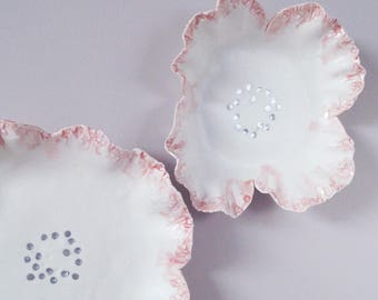 FRILLY flowers ceramic wall art, two sculpted porcelain flowers, fine art ceramic flowers, white porcelain pink glaze