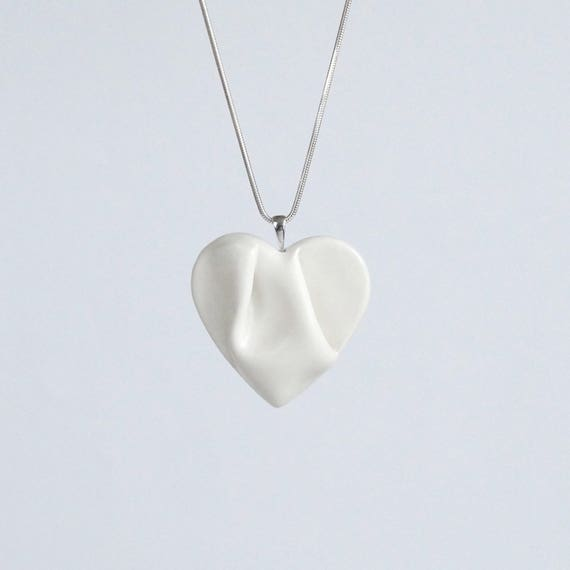 Work of HEART white porcelain necklace. Sculpted ceramic jewellery, white satin ceramic glaze, sterling silver chain, gift box