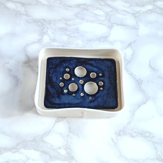 Ceramic soap dish and tray set, BUBBLE holes design, midnight white glaze, porcelain soap dish, bathroom accessory, counter top