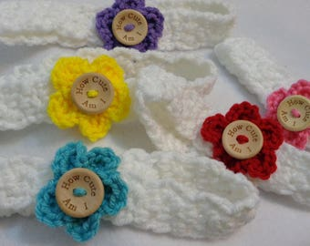 Baby Flower Headband, Infant Flower Headband, How Cute Am I Photo Prop, Gift for Baby Girl, Shower Present, Choose Your Color, MADE TO ORDER