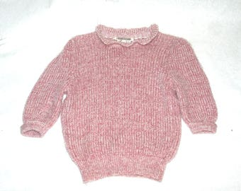 Sweet Little Pink & White 80's Sweater with Ruffled Collar and 3/4 Sleeves- Size S