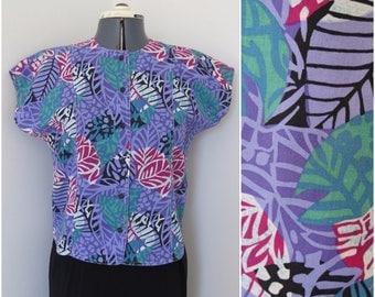 """Vintage 80s Purple Tropical Button Front Blouse - Womens Bust 38"""""""