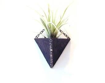 Air plant holder, terrarium indoor garden, wall planter, purple grape stained glass, hanging terrarium, tillandsia air planter, geometric