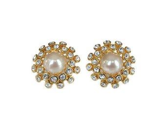 Joan Rivers Rhinestone Pearl Earrings - Classics Collection, Starburst Design, Vintage Earrings, Vintage Jewelry