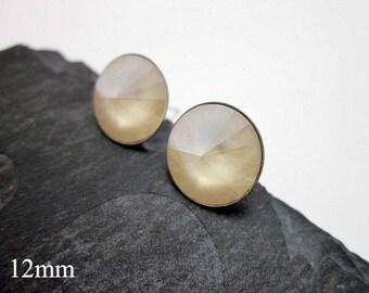 Cream Studs -- Cream Stud Earrings -- Ivory Posts -- Off White Studs -- Ivory Swarovski Studs --Off White Post Earrings -Ivory Crystal Studs