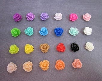 Small Resin Roses -- Sample Flower Supply -- Mini Flower Supplies -- DIY Flower Pieces -- Mini Rose Flower -- Flower Cabochons -- Multi Pack