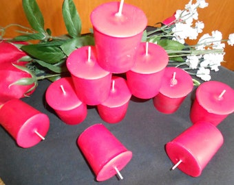 Ten, Berry Bramble type Scented Votive Candles, Soy, Wedding Decorations, Home Decor, Pink