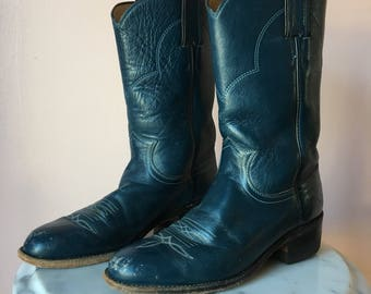 Size 5 Boots / 1980's Justin Boots / Navy Blue / Wooden Stacked Boots / Stompin Boots / Leather Cowboy Boots / Country Western Boots