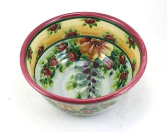 Handmade Serving Bowl - Floral Ceramic Pottery Bowl with Pale Blue Background and Flowers - OOAK