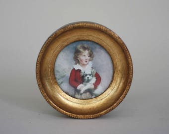 vintage miniature portrait in gold gilt frame