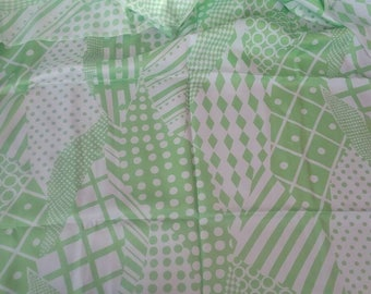 Lime Green Abstract Silky Vintage Fabric Yardage